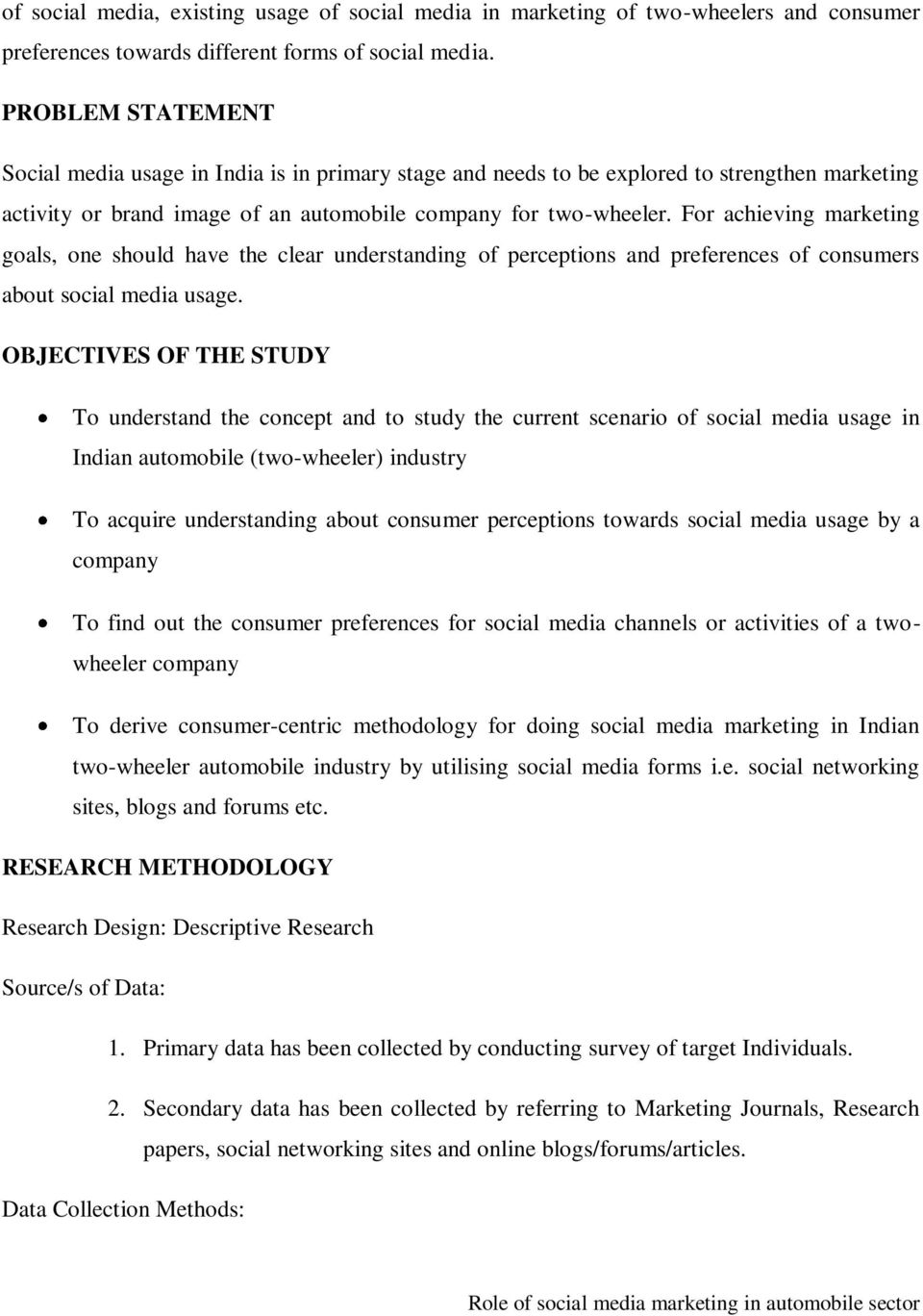 Title Of Paper Role Of Social Media Marketing In Automobile Sector Pdf Free Download
