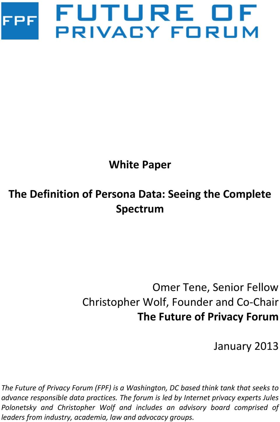white paper. the definition of persona data: seeing the complete