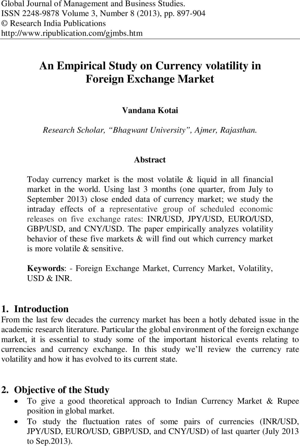 Currency Volatility In Foreign Exchange