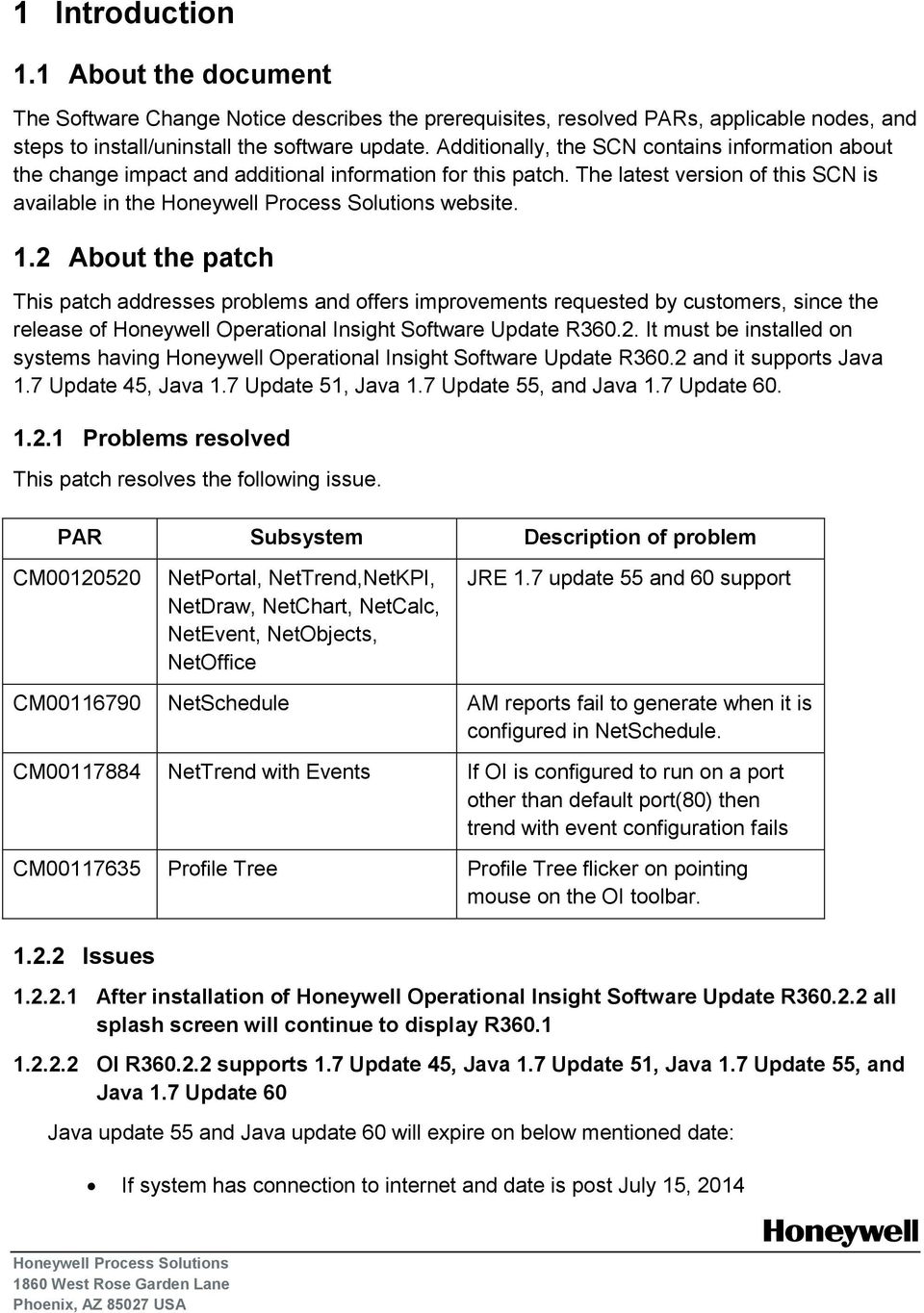 Operational Insight  Software Change Notice  Revision Date: June 6