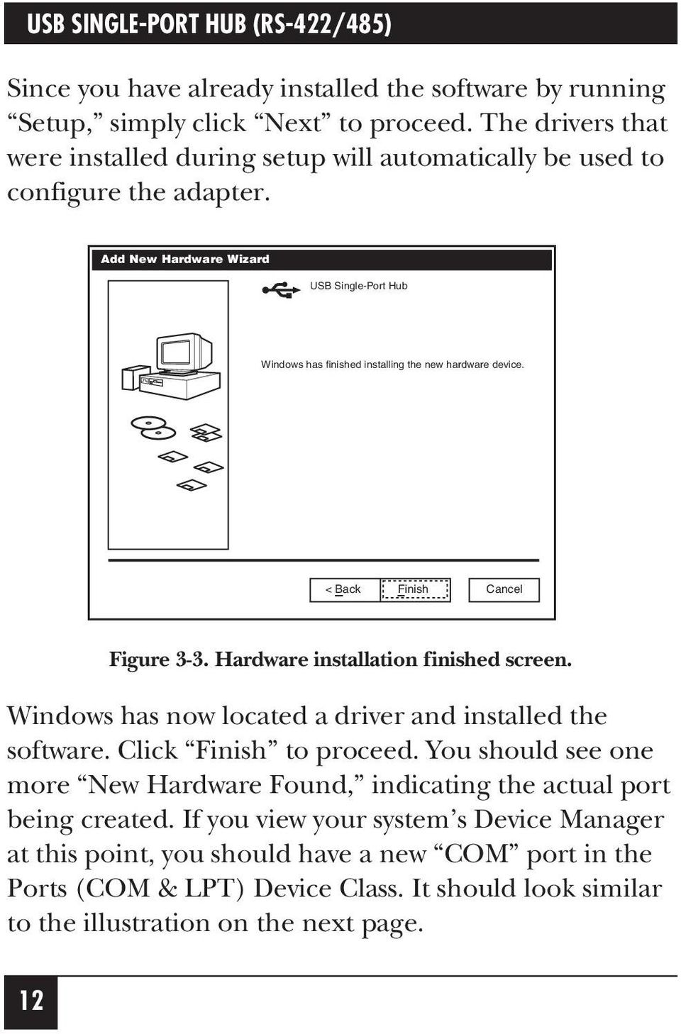 Usb Single Port Hub Rs 422 485 Pdf Lpt To Wiring Diagram Add New Hardware Wizard Windows Has Finished Installing The
