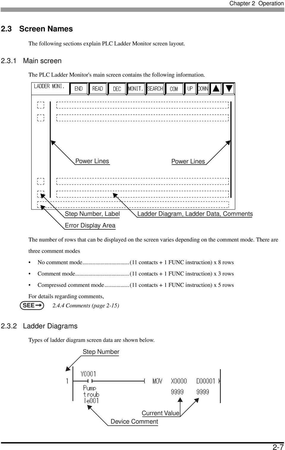 Mitsubishi Electric Q Series Plc Ladder Monitor Operation Manual Pdf Diagram Of Is Divided Into Figure There Are Three Comment Modes No Mode11 Contacts 1 21 Mistubishi