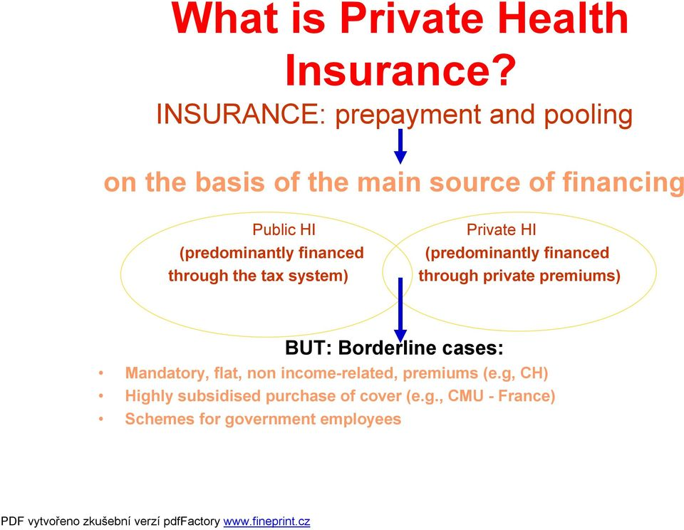 (predominantly financed through the tax system) Private HI (predominantly financed through private