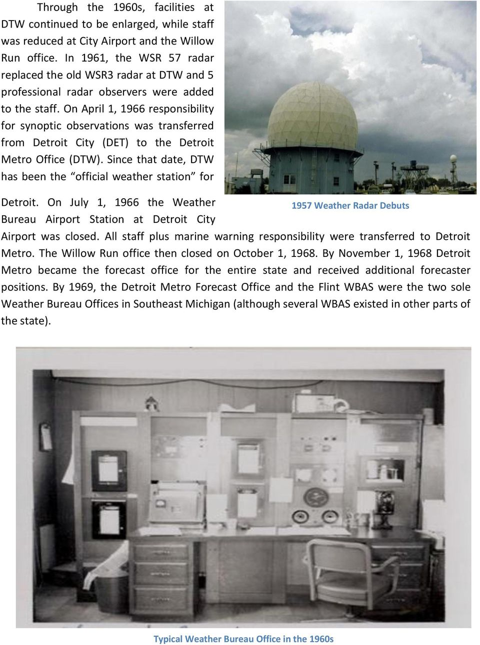 History of the NOAA National Weather Service in Southeast Michigan on