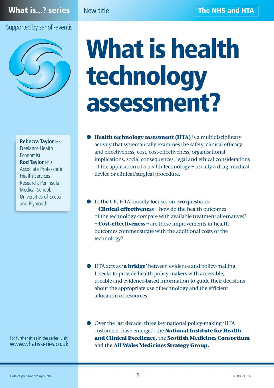 What is health technology assessment? - PDF