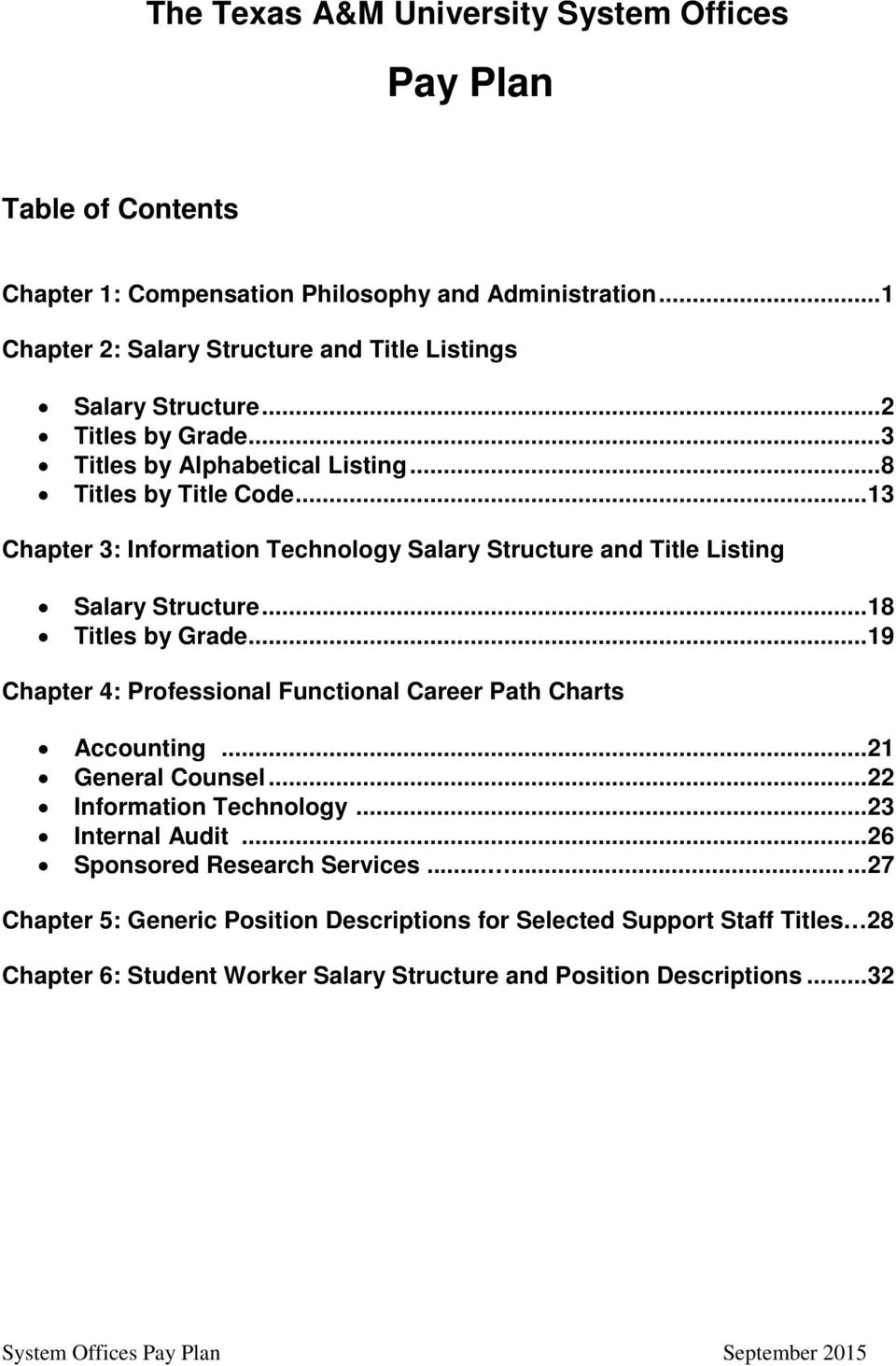 THE TEXAS A&M UNIVERSITY SYSTEM  System Offices  Pay Plan - PDF