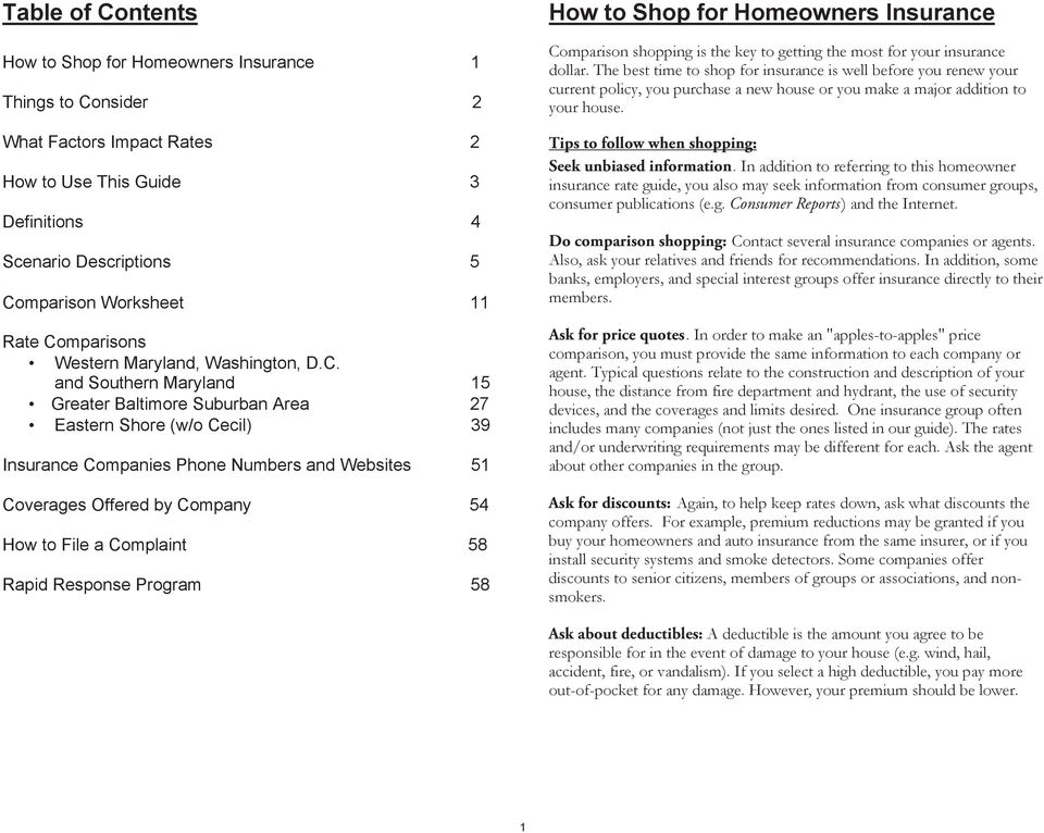 Table of Contents  How to Shop for Homeowners Insurance  How