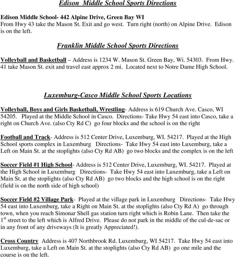Brown County League Atheletic Events Locations  Bayview
