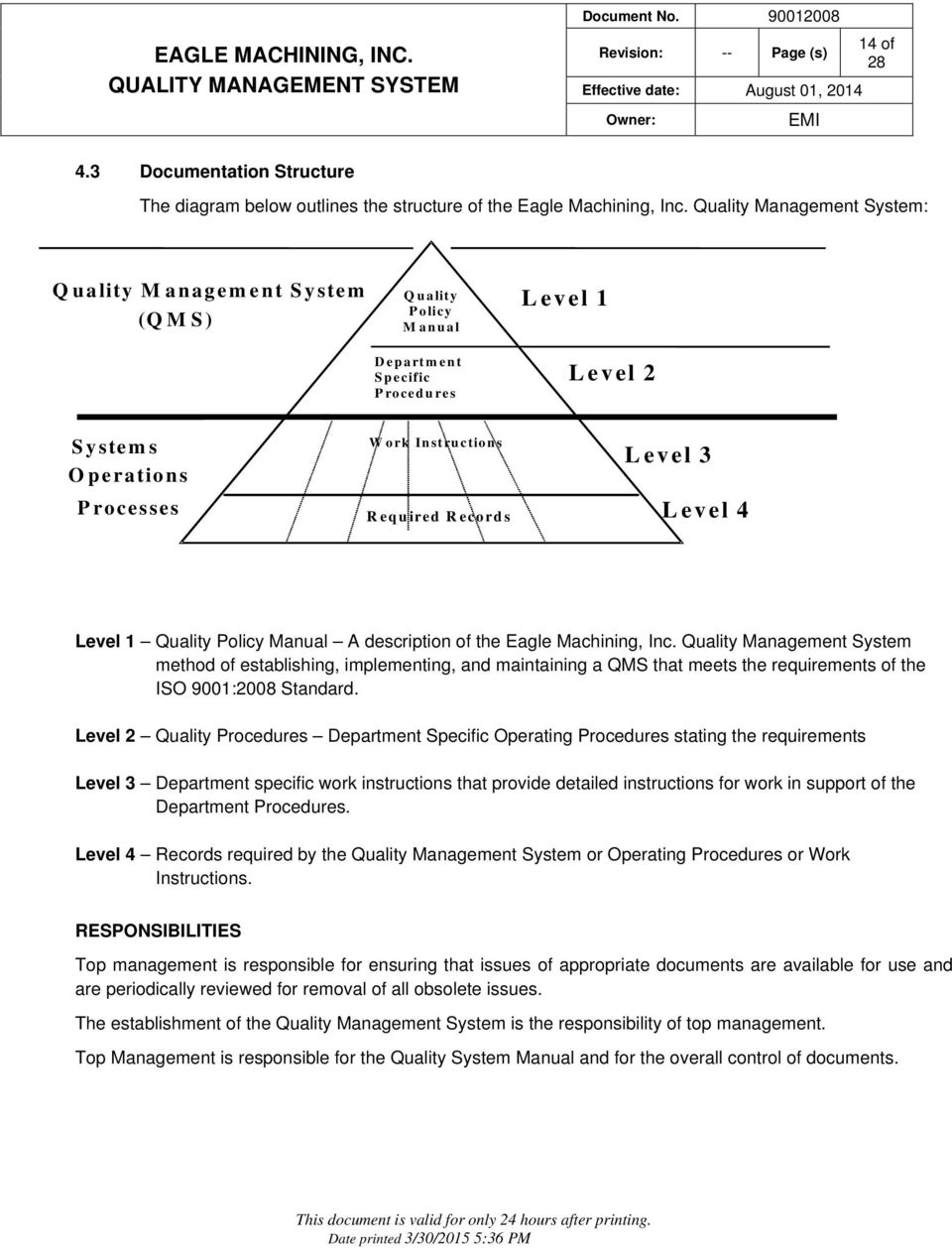 Level 3 Level 4 Level 1 Quality Policy Manual A description of the Eagle Machining, Inc.
