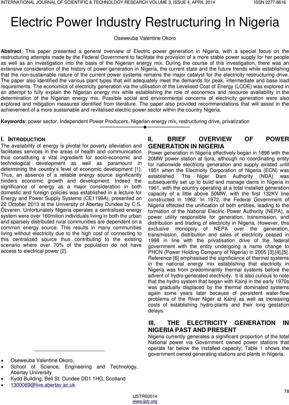 Electric Power Industry Restructuring In Nigeria - PDF