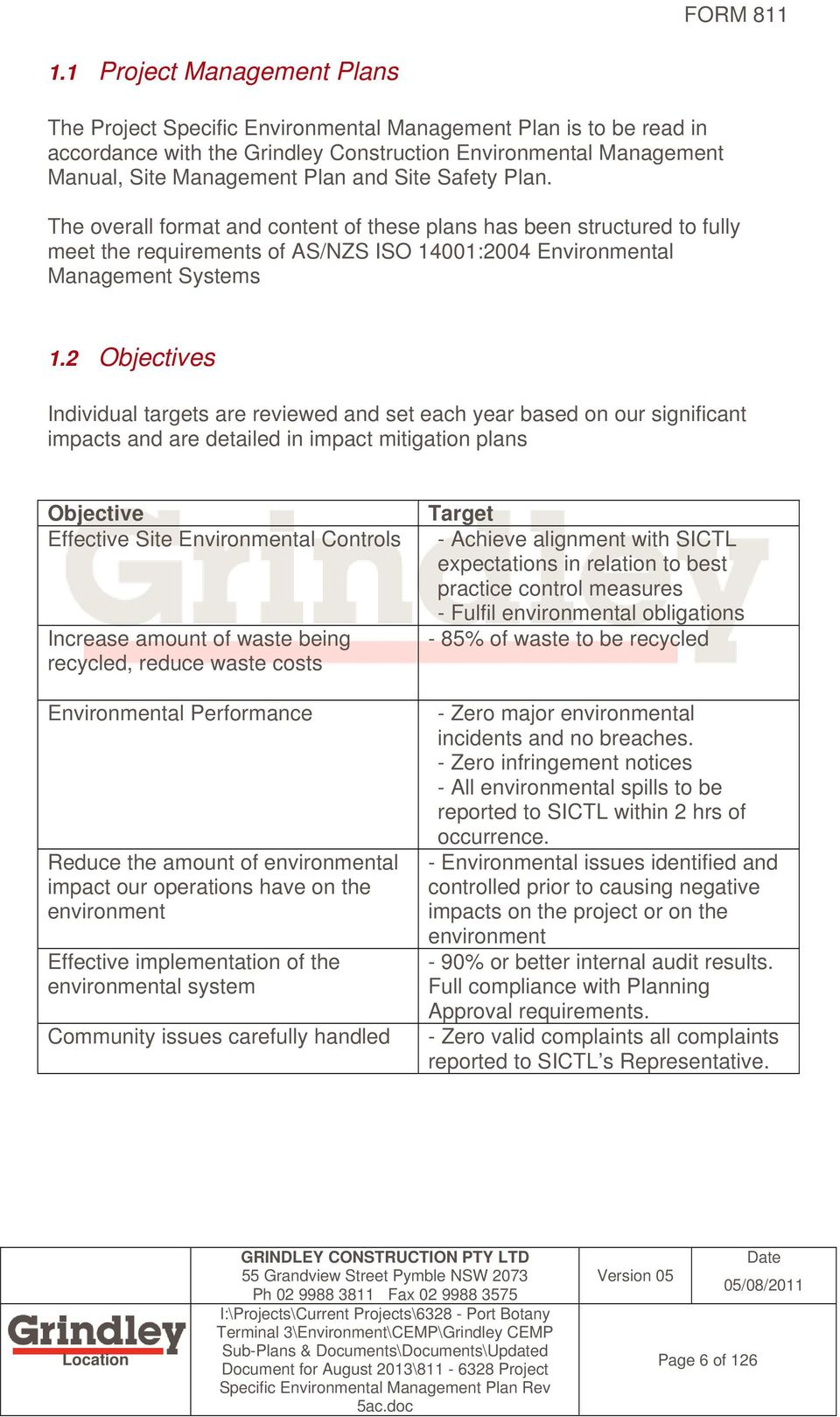 Project Specific Construction Environmental Management Plan Cemp