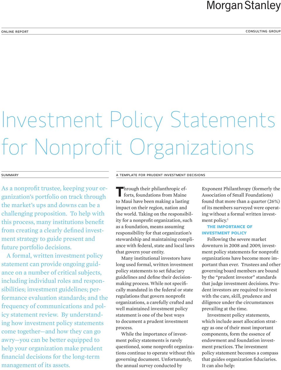 Investment Policy Statements For Nonprofit Organizations Pdf