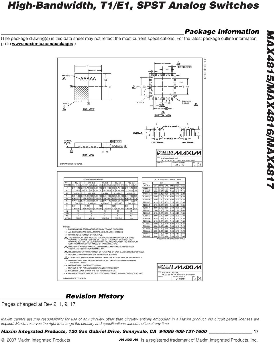 EPS Revision History Pages changed at Rev 2: 1, 9, 17 Maxim cannot assume responsibility for use of any circuitry other than circuitry entirely embodied in a Maxim product.