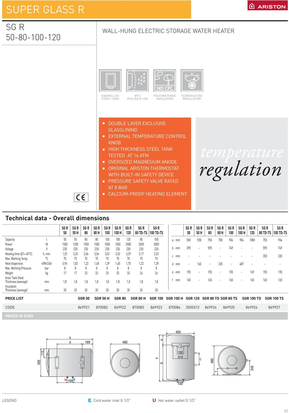 March 2007 Edition Water Heaters General Catalogue Pdf Free Circuit Diagrams 4u 230v Led Tube Light Diagram H 80 100 120 Td Ts