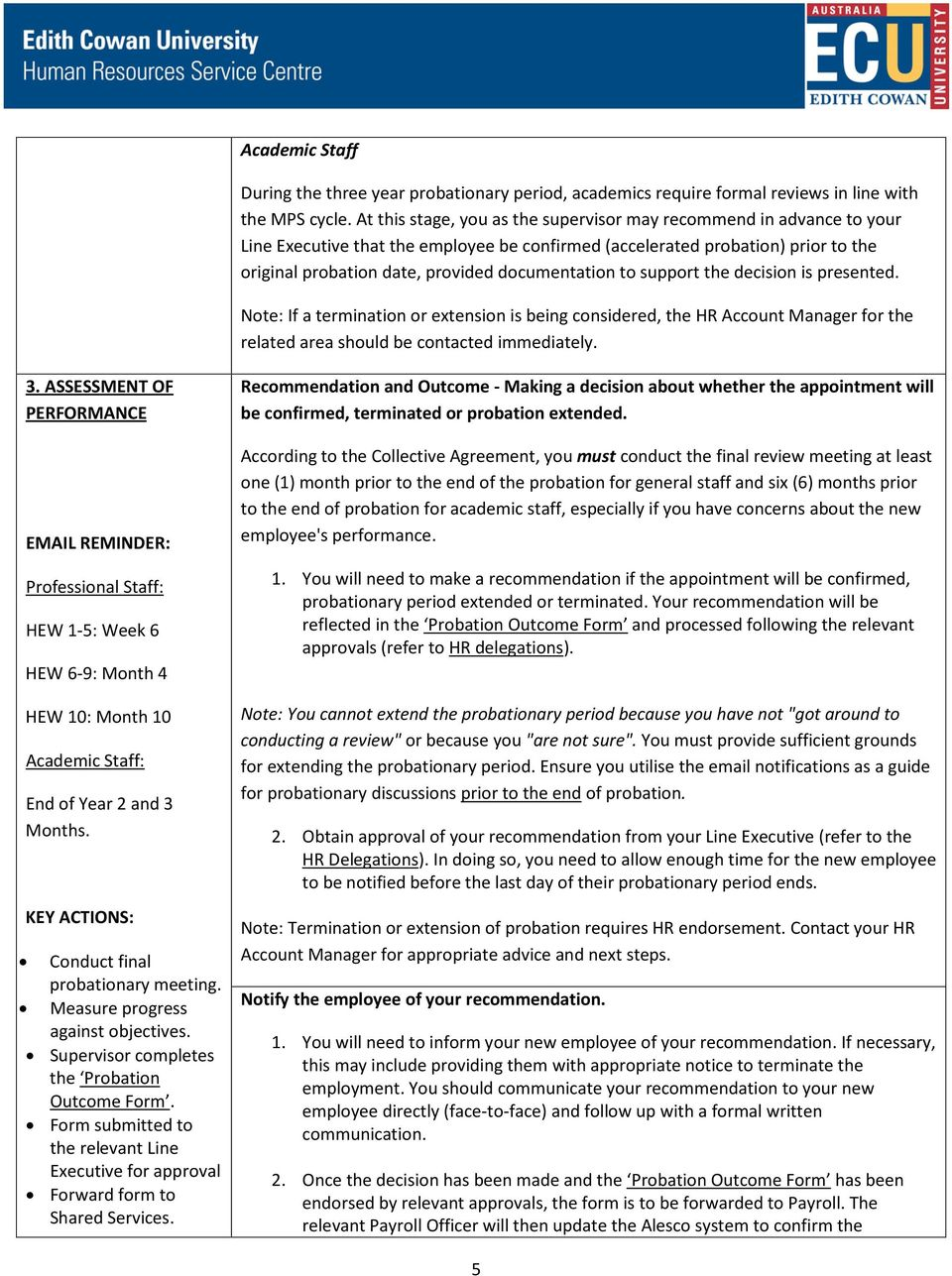 Probation at ECU Academic and General Staff Guidelines for Managers ...