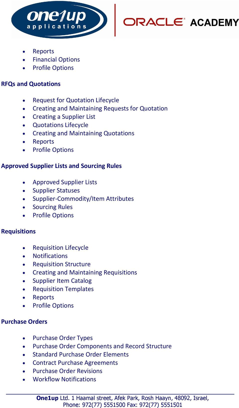 Sourcing Rules Requisition Lifecycle Notifications Requisition Structure  Creating and Maintaining Requisitions Supplier Item Catalog Requisition  Templates