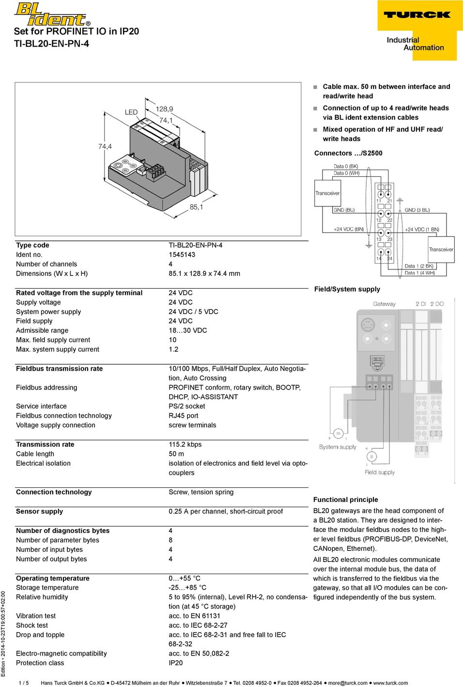 Set For Profinet Io In Ip20 Ti Bl20 En Pn 4 Pdf Wiring Diagram 1545143 Number Of Channels Dimensions W X L H 851 1289