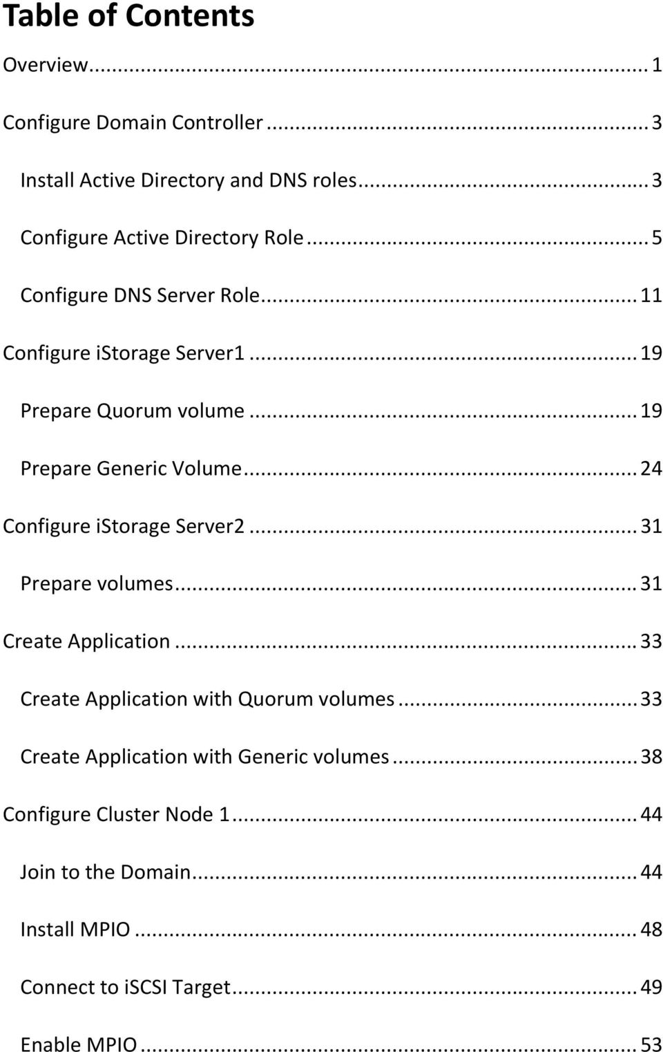 .. 24 Configure istorage Server2... 31 Prepare volumes... 31 Create Application... 33 Create Application with Quorum volumes.