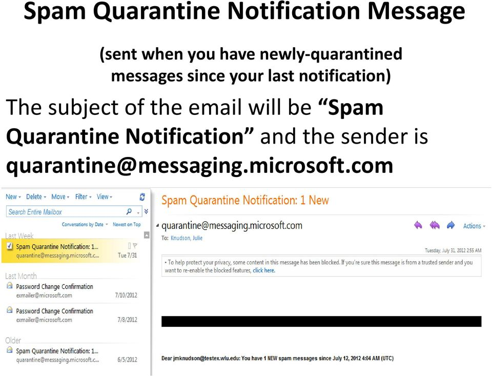 The subject of the email will be Spam Quarantine