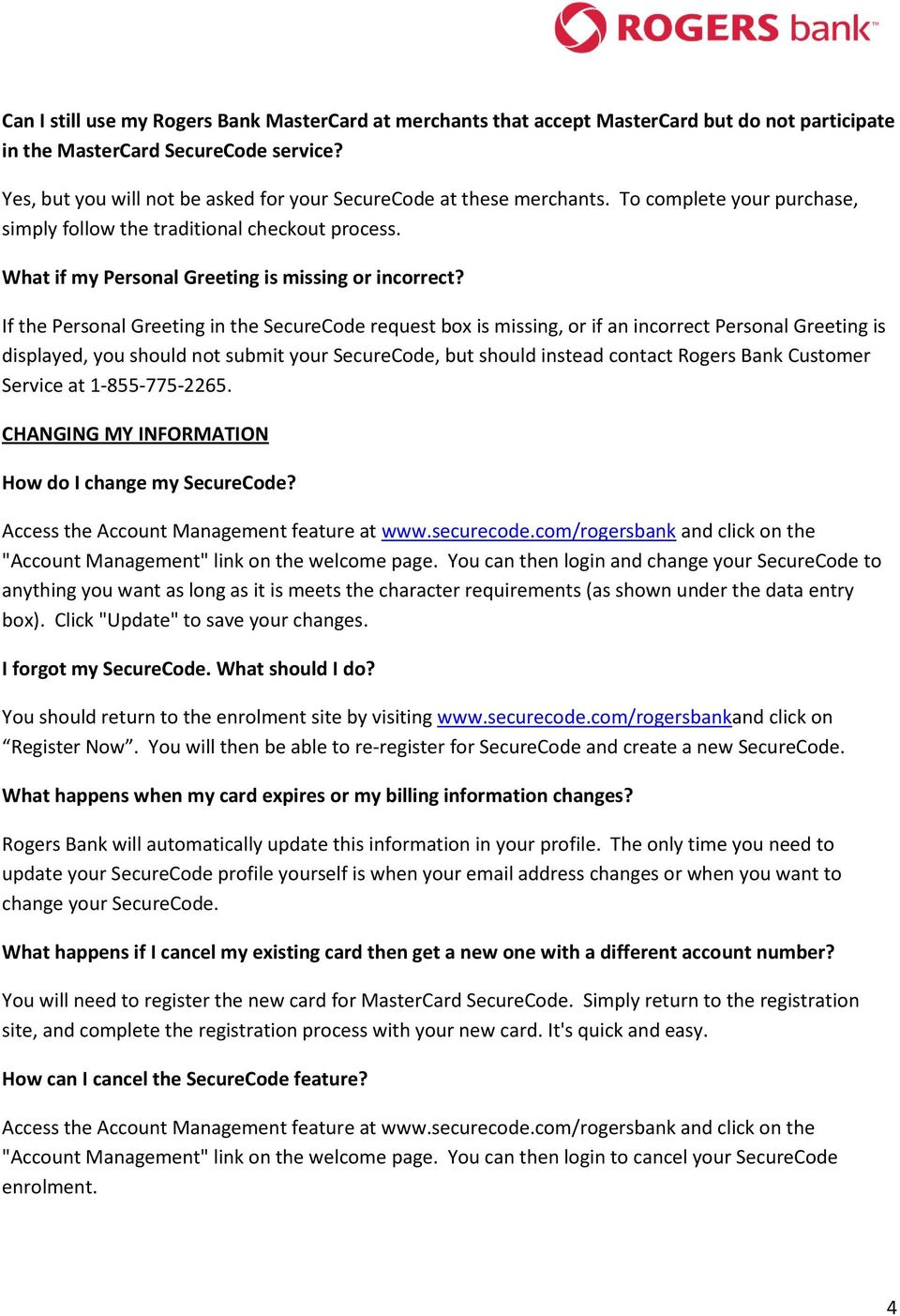 MasterCard SecureCode FAQs - PDF