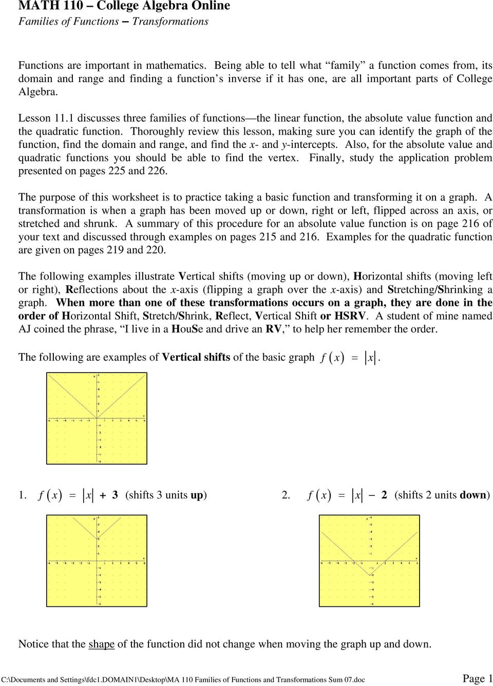 MATH 110 College Algebra Online Families of Functions