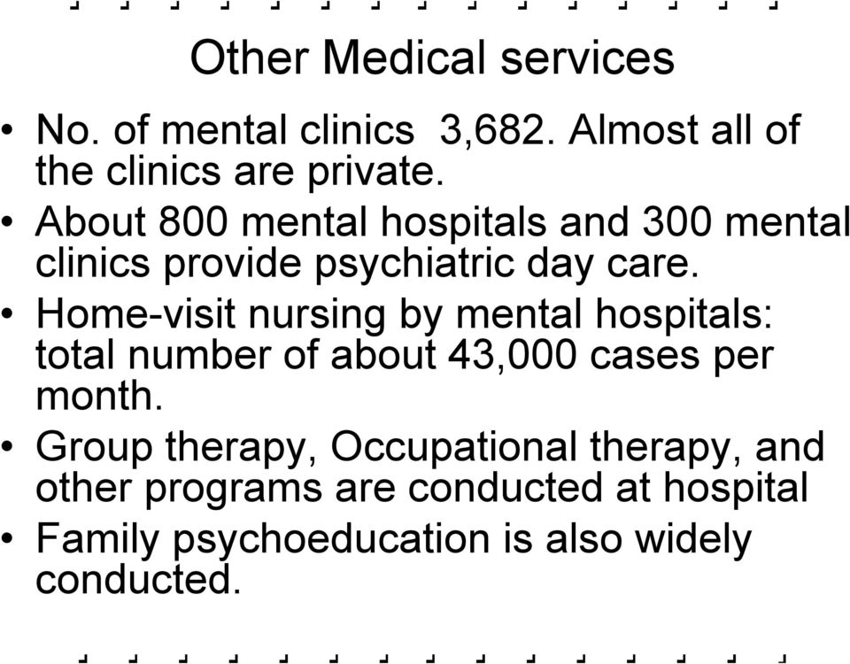Home-visit nursing by mental hospitals: total number of about 43,000 cases per month.