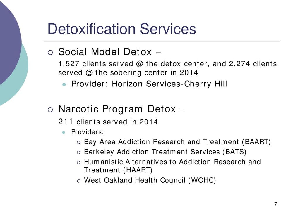 served in 2014 Providers: Bay Area Addiction Research and Treatment (BAART) Berkeley Addiction Treatment