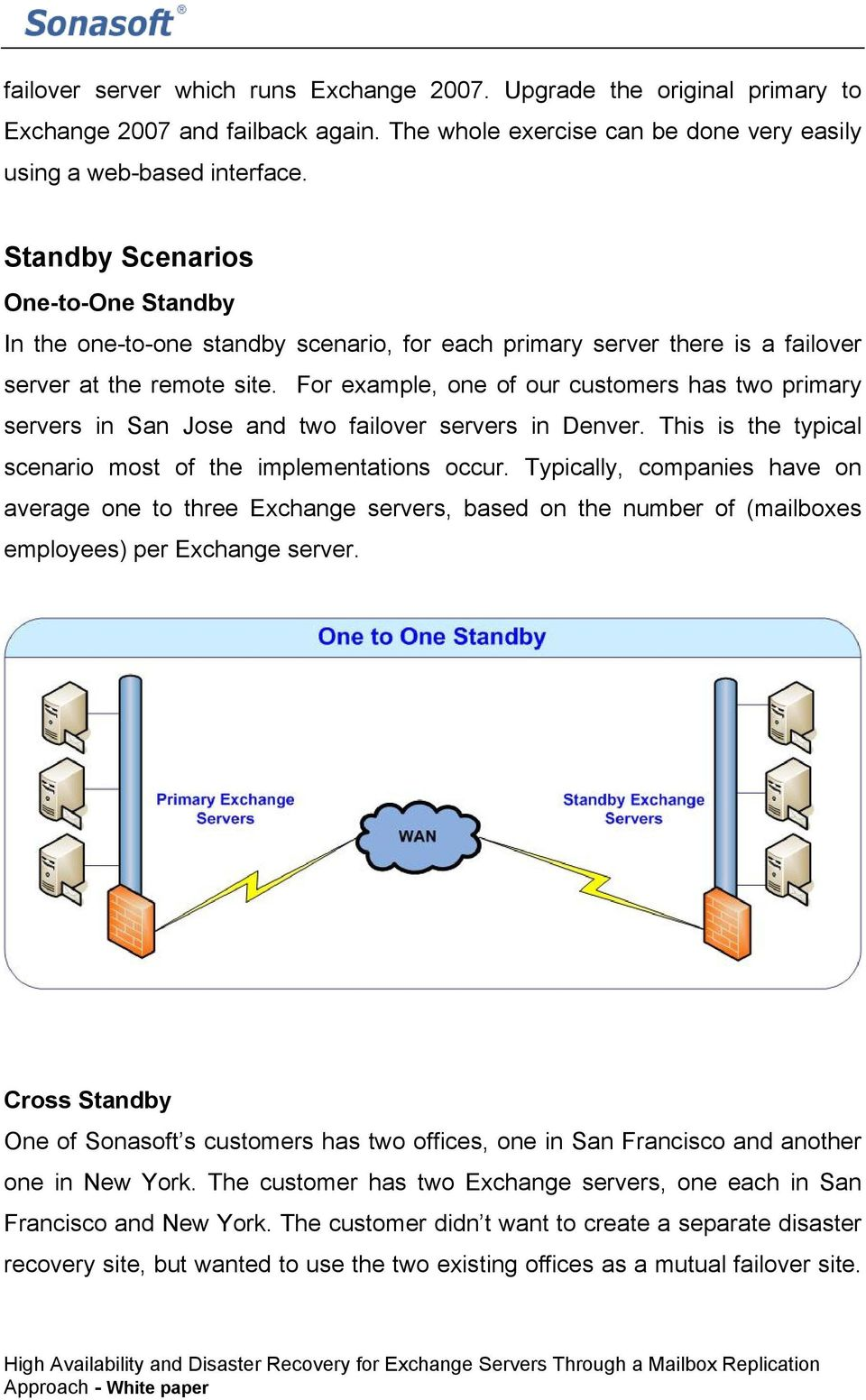 For example, one of our customers has two primary servers in San Jose and two failover servers in Denver. This is the typical scenario most of the implementations occur.
