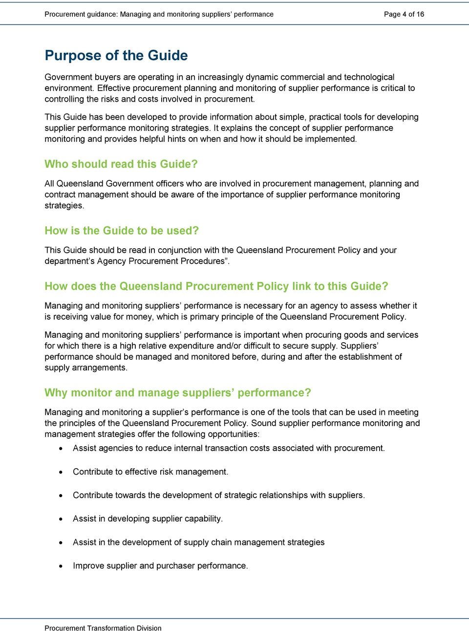 Procurement guidance Managing and monitoring suppliers performance - PDF