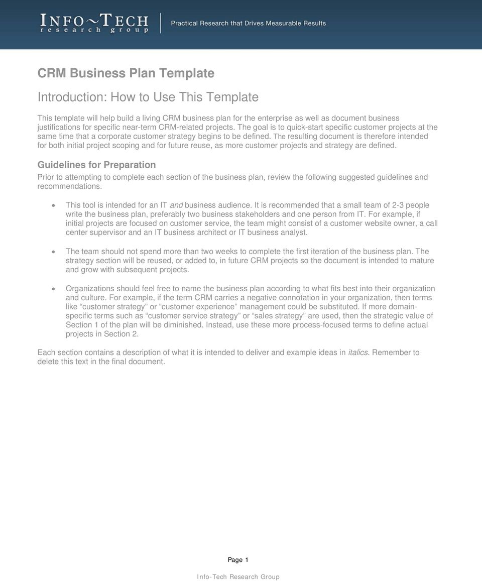 crm business plan template