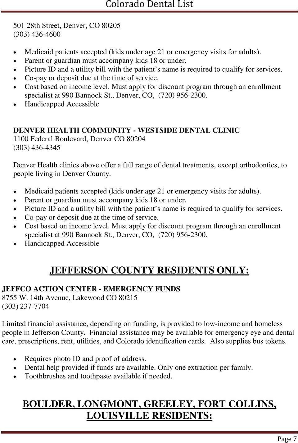 Colorado Low Cost/Medicaid Dentists with Accessibility Options - PDF