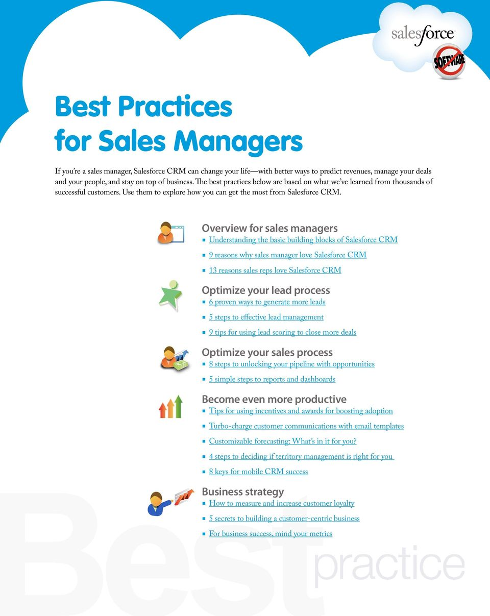 Overview for sales managers Understanding the basic building blocks of Salesforce CRM 9 reasons why sales manager love Salesforce CRM 13 reasons sales reps love Salesforce CRM Optimize your lead