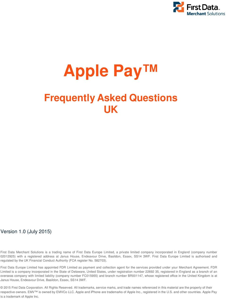 Apple Pay  Frequently Asked Questions UK - PDF