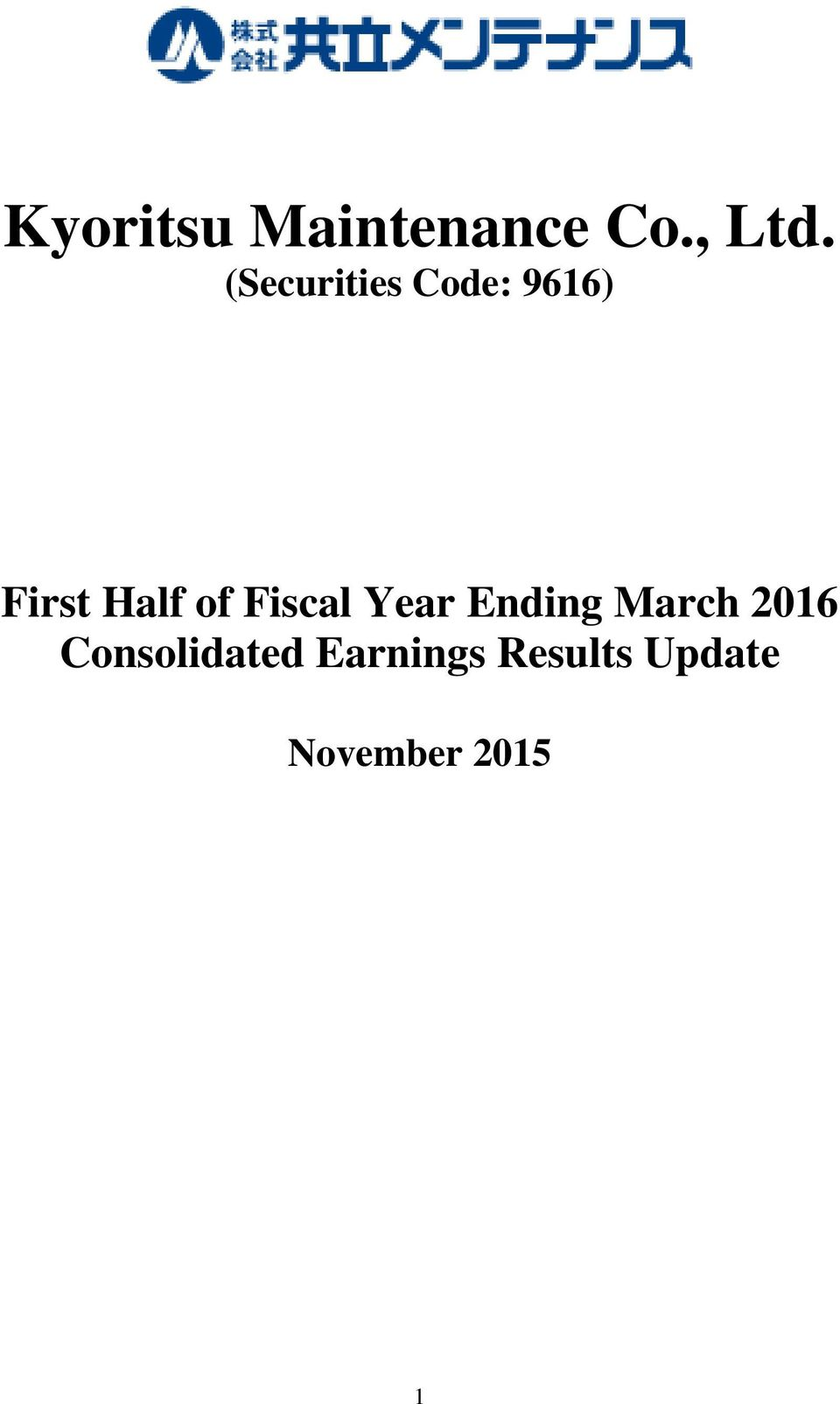 Fiscal Year Ending March 2016