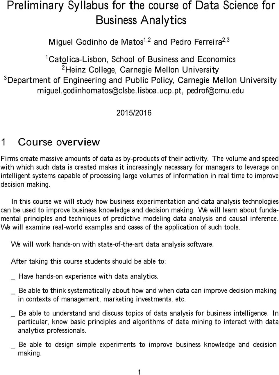 Preliminary Syllabus for the course of Data Science for