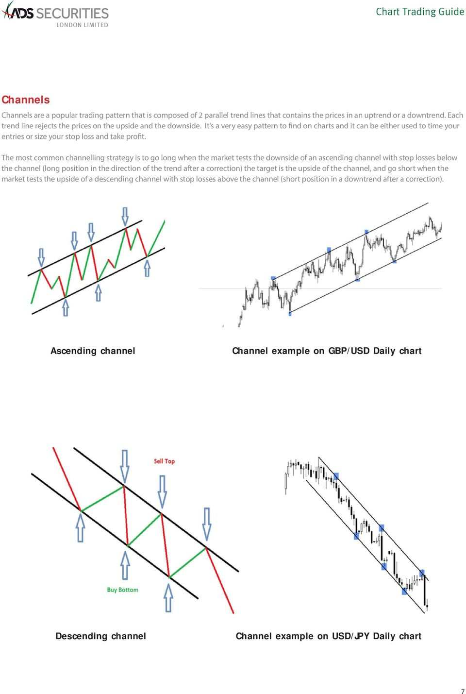 The most common channelling strategy is to go long when the market tests the downside of an ascending channel with stop losses below the channel (long position in the direction of the trend after a