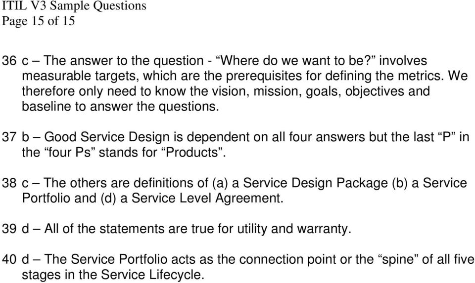 Itil V3 Sample Questions Page 1 Of 15 Sample Itil Version 3