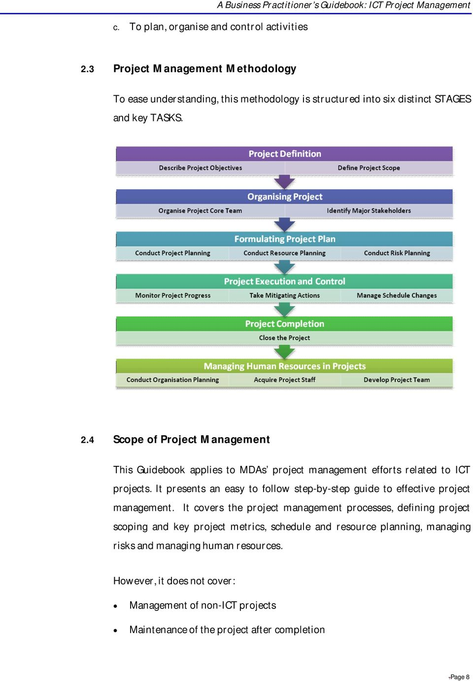 4 Scope of Project Management This Guidebook applies to MDAs project management efforts related to ICT projects.