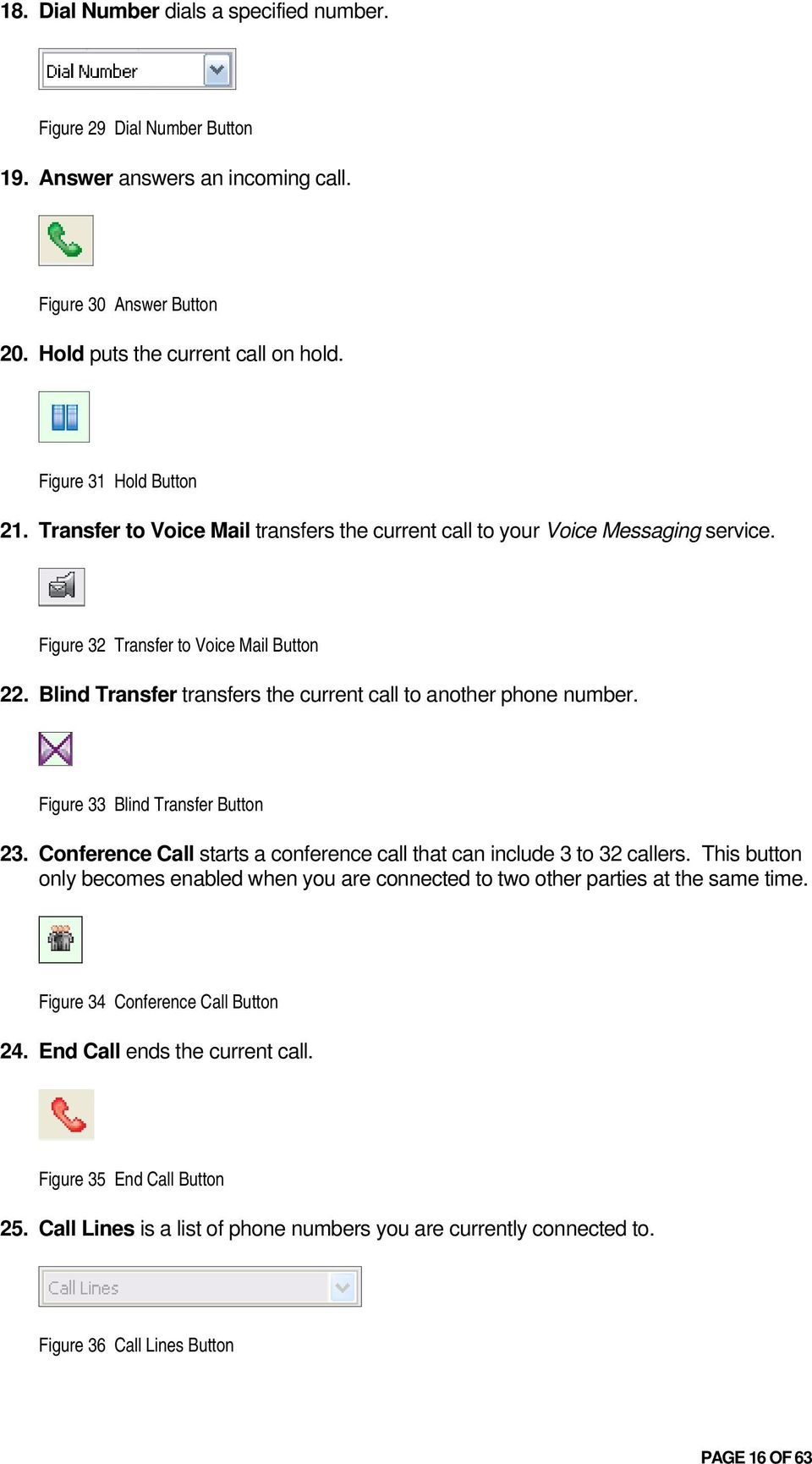 Figure 33 Blind Transfer Button 23. Conference Call starts a conference call that can include 3 to 32 callers.