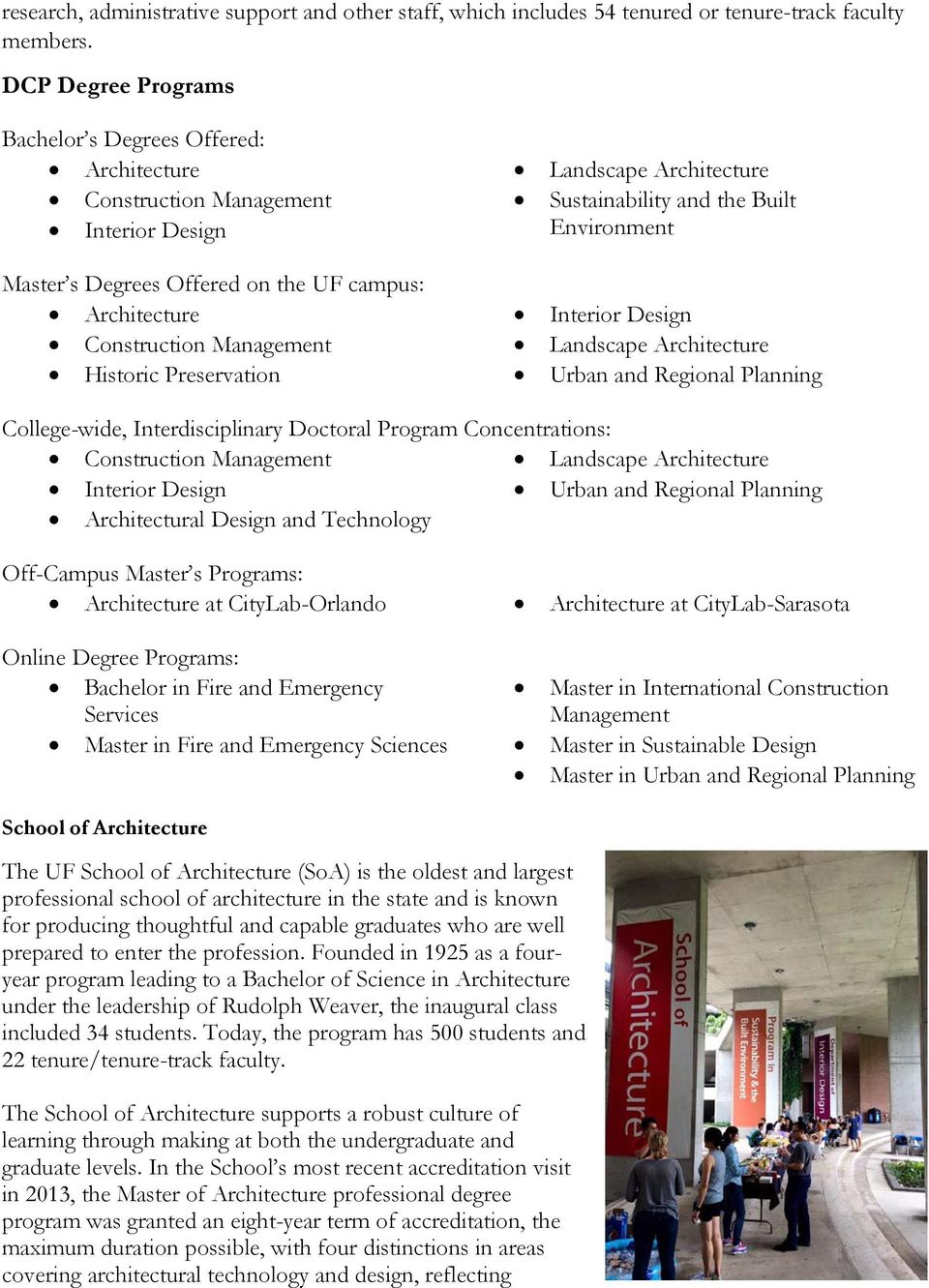 Preservation Landscape Architecture Sustainability and the Built Environment Interior Design Landscape Architecture Urban and Regional Planning College-wide, Interdisciplinary Doctoral Program