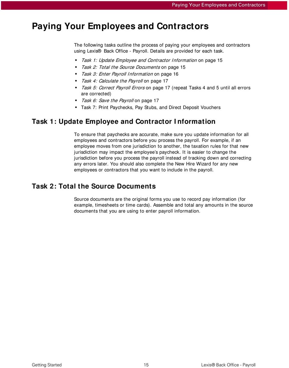 Lexis Back Office - Payroll  Getting Started - PDF