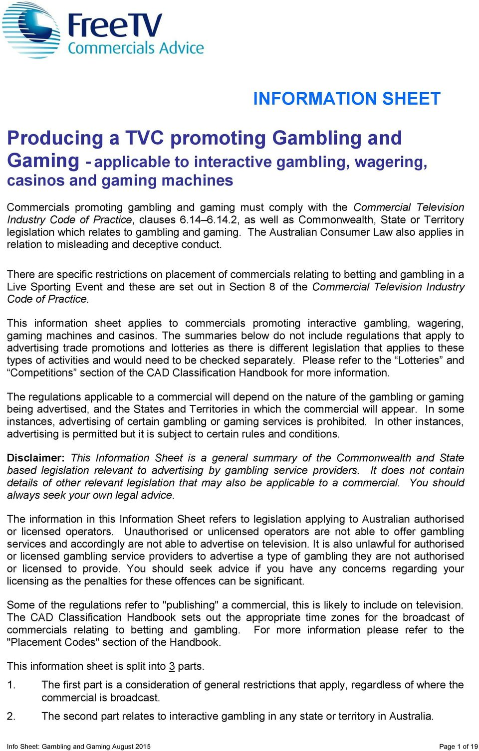 Producing a TVC promoting Gambling and Gaming - applicable to