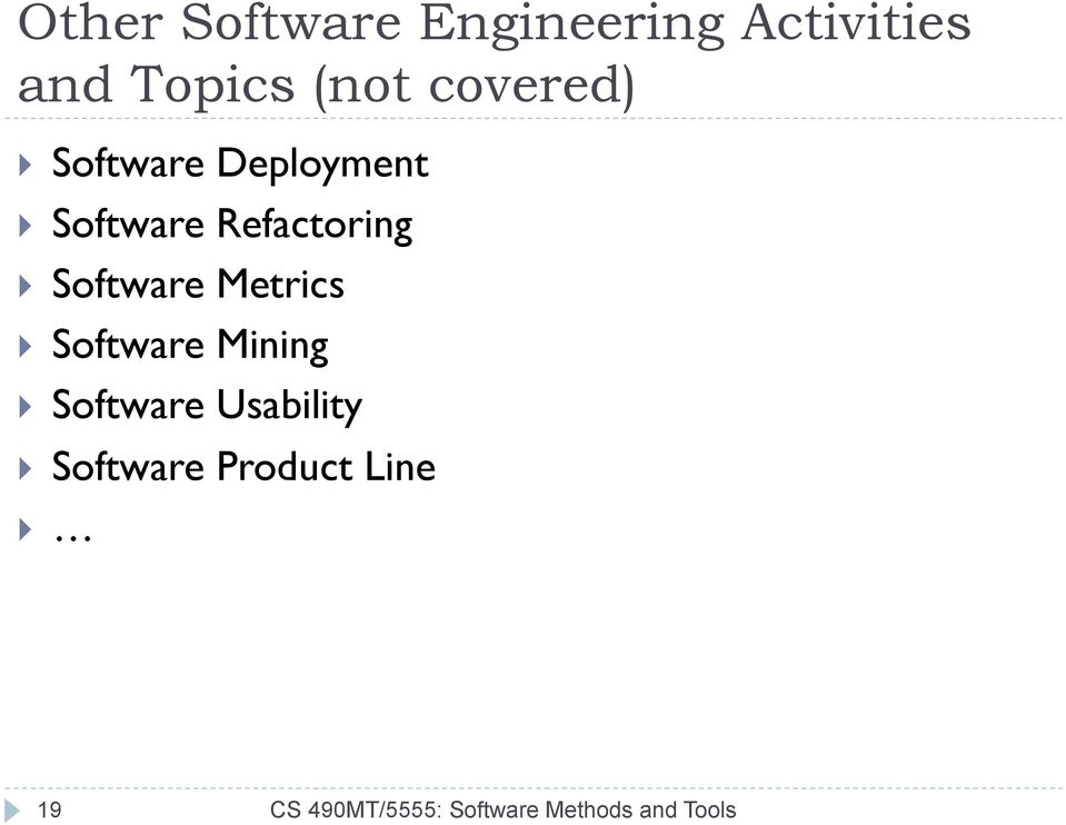 Software Metrics } Software Mining } Software Usability }