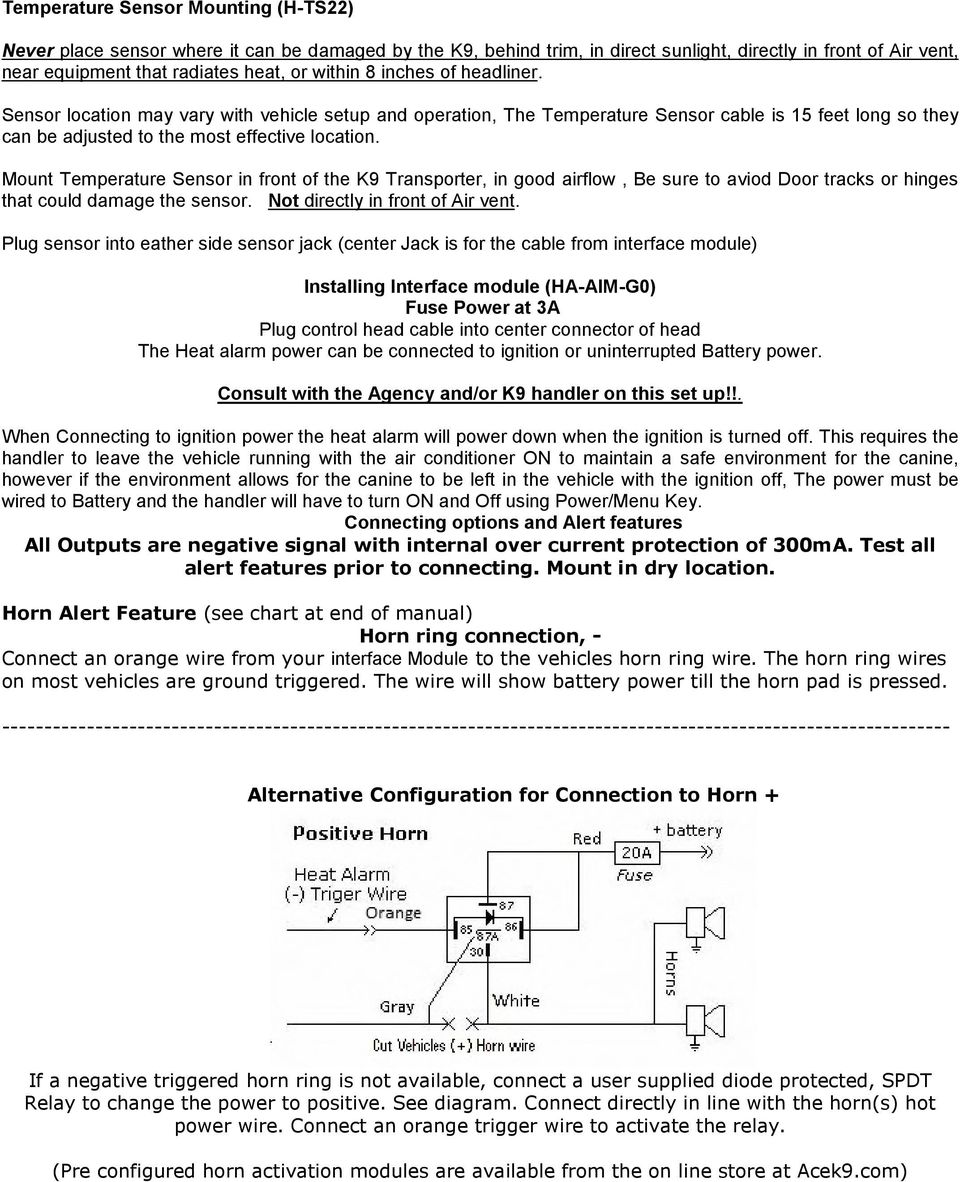 K9 Heat Alarm Owners Manual Ha Pdf State Timer Wiring Diagram Besides Horn 12v Relay Mount Temperature Sensor In Front Of The Transporter Good Airflow Be Sure