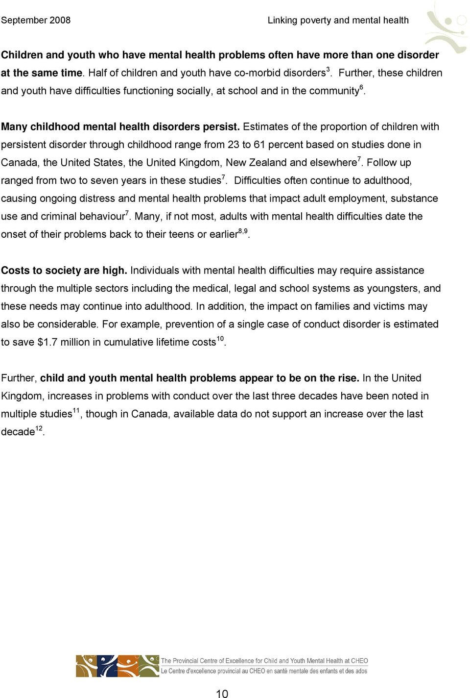 Linking poverty and mental health: A lifespan view