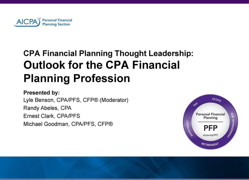 Cpa Financial Planning Thought Leadership Outlook For The Cpa
