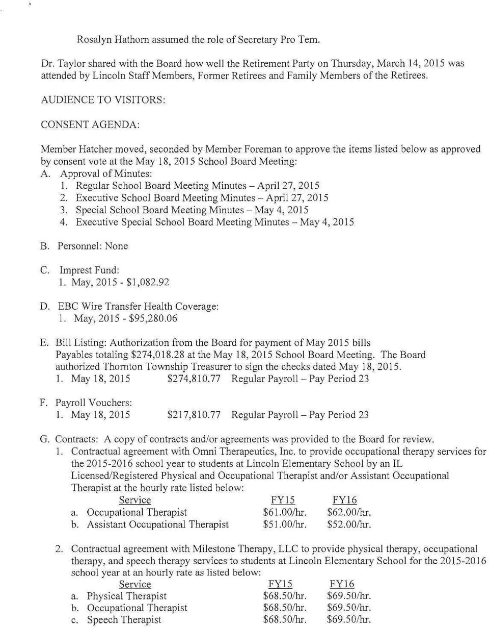 MINUTES OF THE REGULAR SCHOOL BOARD MEETING OF THE BOARD OF
