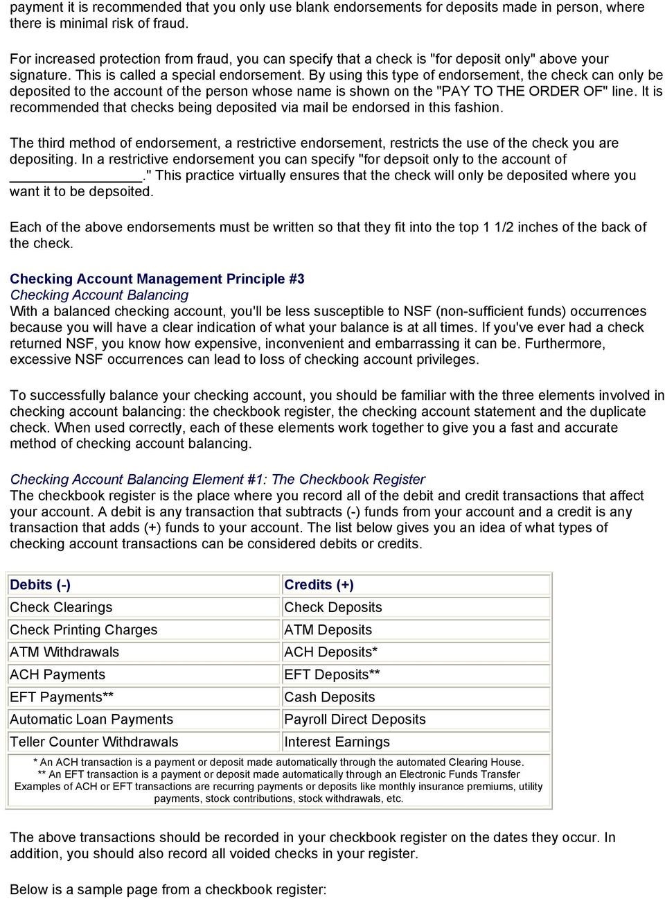 tips on managing your checking account pdf