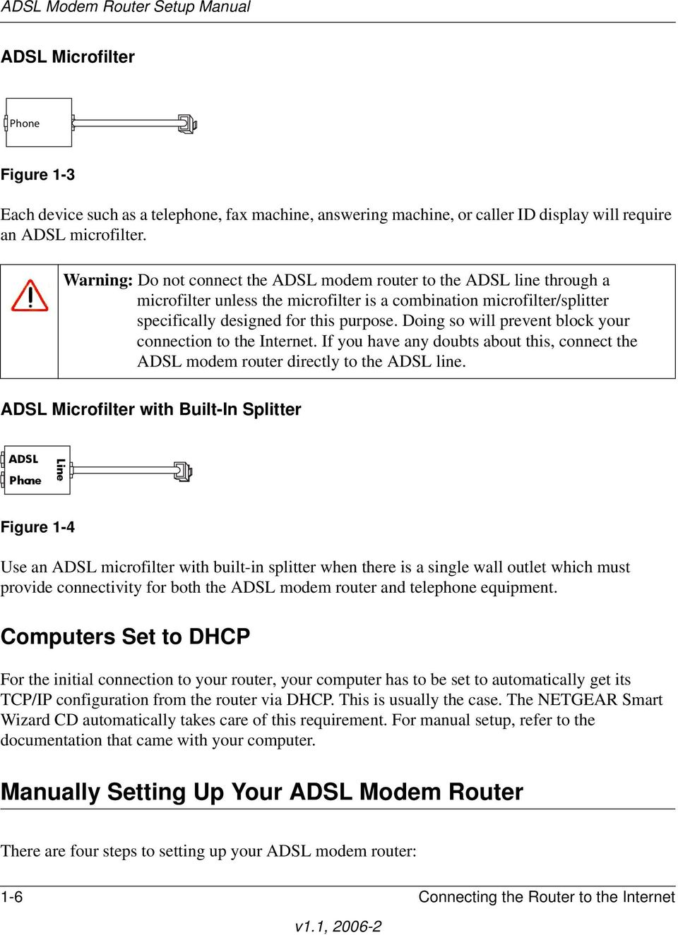 Doing so will prevent block your connection to the Internet. If you have any doubts about this, connect the ADSL modem router directly to the ADSL line.