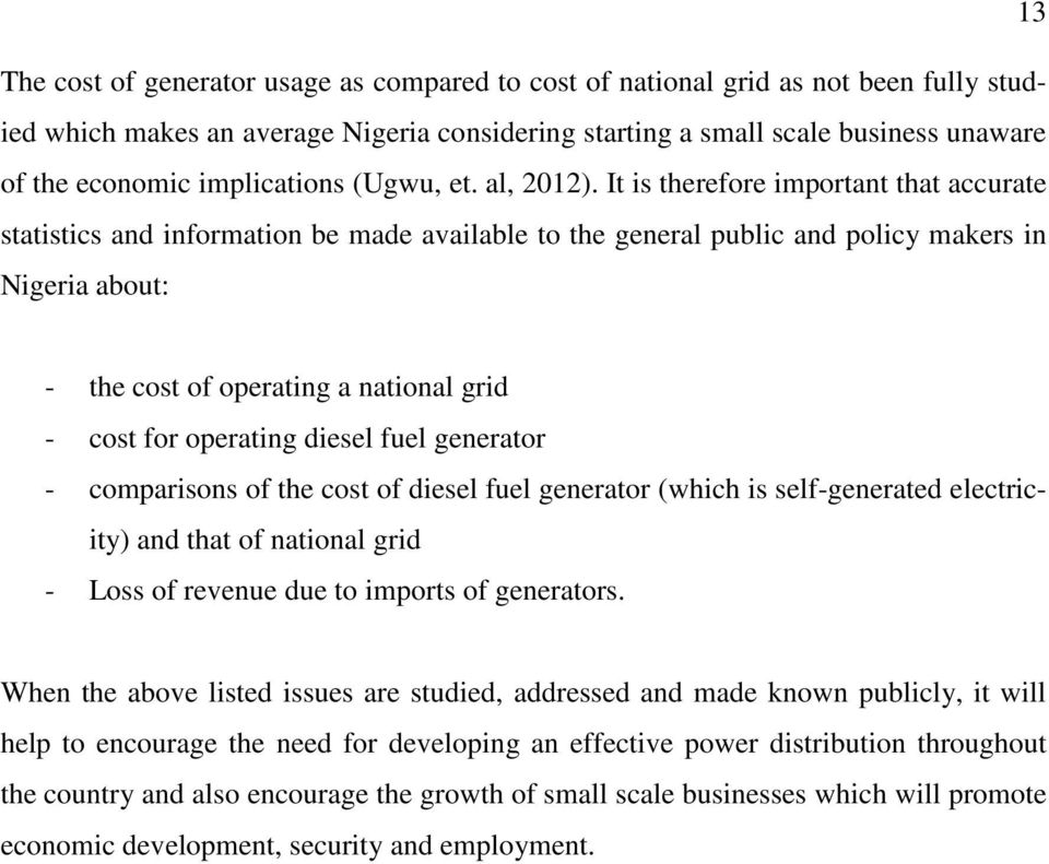 EFFECT OF GENERATOR USAGE ON SMALL SCALE BUSINESSES IN NIGERIA - PDF